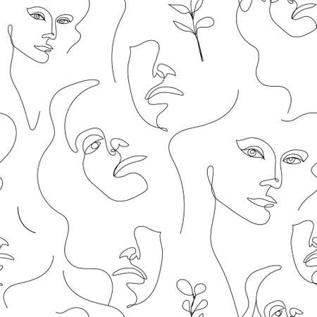 Vector seamless pattern. Continuous line art with woman face, leaves. Linear nature background. Use for package, cosmetics, decor. Fashion concept, feminine beauty minimalist