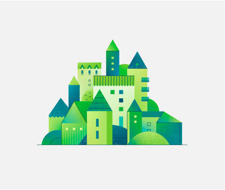 Vector abstract green city, building composition sign, icon, logo isolated 向量圖像