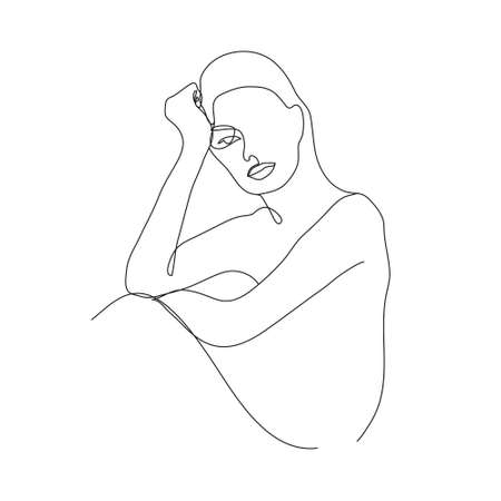 Vector minimalist linear woman illustration, abstract continuous line drawing face. Modern one line art, female portrait. Use for social net, poster, wall art, tote bag, t-shirt print, sticker, logo 向量圖像