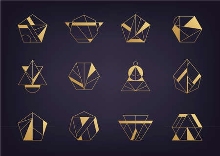 Vector set of abstract geometric logos. Art deco, hipster, golden line style. Hexagon, triangle, polygon linear shapes. 向量圖像