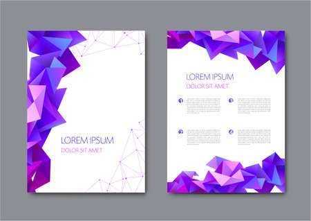 Set of vector bright abstract polygonal contemporary templates, posters, placards, brochures, banners, flyers, backgrounds and etc.