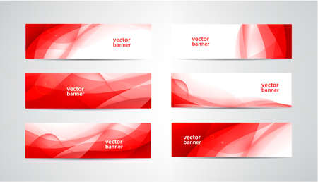 Vector set of abstract silk wavy headers, red banners. Use for web site, ad, brochure 向量圖像