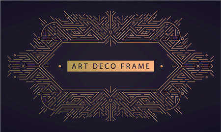 Vector art deco frame, abstract geometric design template for luxury products. Geometric golden background. Linear ornament composition, vintage. Use for packaging, branding, decoration 向量圖像