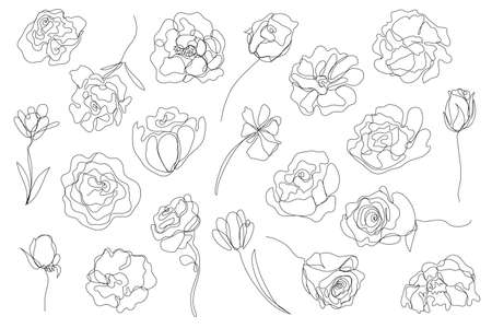 Vector set of hand drawn, single continuous line flowers. Art floral elements. Use for t-shirt prints, logos, cosmetics and beauty design