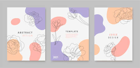 Vector set of continuous line flowers, leaves covers, banners, posters, cards, social media stories, flyers design templates. Trendy design with waves