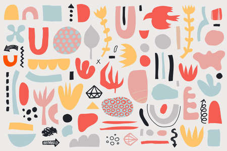 Vector collage pattern, background. Hand drawn various shapes and doodle objects, flowers, leaves. Abstract contemporary modern trendy illustration