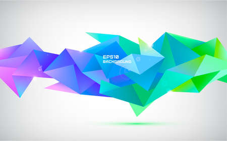 Vector abstract geometric 3d facet shape isolated. Use for banners, web, brochure, ad, poster, etc. Low poly modern style background. Purple, blue.