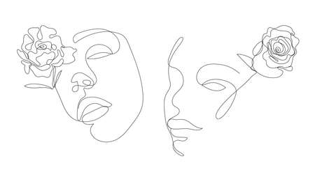 Vector hand drawn linear art, woman faces with flower, continuous line, fashion concept, feminine beauty minimalist. Print, illustration for t-shirt, design, logo for cosmetics, etc