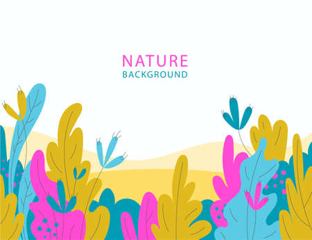 Vector flat illustration, banner with florals, leaves, flowers. Spring, summer background. Bright colors, use for web, landing, cosmetics, packaging