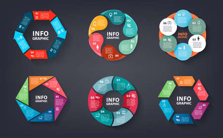 Vector set of colorful loop, circle, step by step infographic. Template for diagram, graph, presentation and chart. Abstract business concept with options, parts, 6 steps or processes.