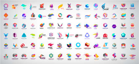 Vector huge set of abstract Logos And Icons. Design identity Elements Collection Isolated. Flat Icons For Business Template Logo, Square Elements, Website, Business Symbol And Circle Elements