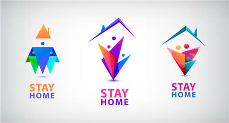 Vector stay home, save the lives of the people of the coronavirus COVID-19 concept. Family stays together at home. Abstract Logos, stickers, icons for quarantine company coronavirus covid