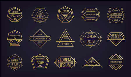 Vector Set of Vintage Hipster Insignias and Logotypes. Business Signs, Logos, Identity Elements, Labels, Badges, Frames, Borders and Other Design Elements. Geometric shapes
