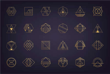 Vector set of abstract geometric logos. Art deco, hipster, golden line style. Circle, triangle, polygon linear shapes. Aztec, magic, esoteric icons, sacred geometry 向量圖像