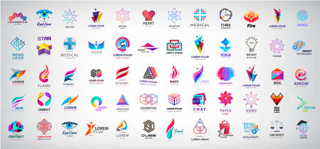 Vector huge set of abstract Logos And Icons. Design identity Elements Collection Isolated. Flat Icons For Business Template Logo, Business Symbol, men, geometric shape, family, flow, dual 向量圖像