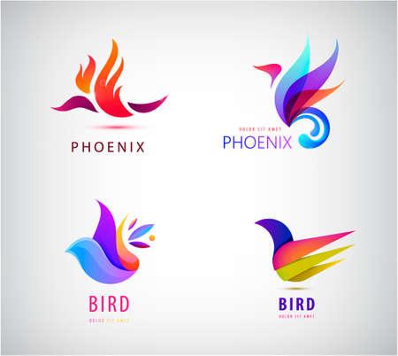 Vector set of bird , icons, illustrations in trendy colorful geometric style. Phoenix, dove, freedom, flight