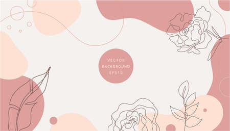 Vector nature background, design minimalist template, simple modern style with text, monoline hand drawn flowers and leaves - wedding invitation and frames, social media stories