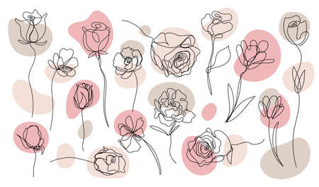 Vector set of hand drawn, single continuous line flowers with pastel color spots. Art floral elements. Use for t-shirt prints, logos, cosmetics and beauty design 向量圖像