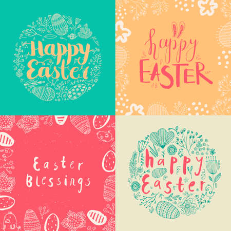 Vector set of Easter square cards, banners. Hand drawn doodle lettering with eggs, flowers, leaves. Happy Easter 向量圖像