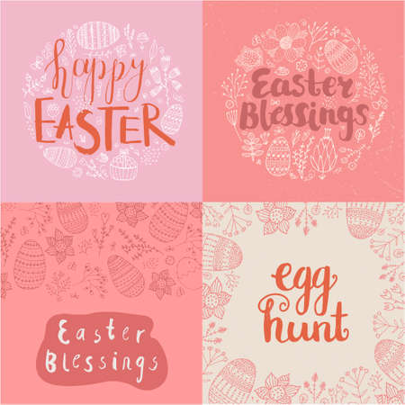 Vector set of Easter square cards, banners. Hand drawn doodle lettering with eggs, flowers, leaves. Happy Easter, Easter blessings 向量圖像