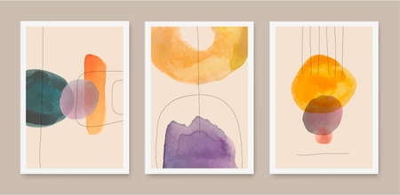 Vector set of abstract creative minimalist artistic hand painted compositions, art covers, brochures, flyers, banners, posters. 向量圖像