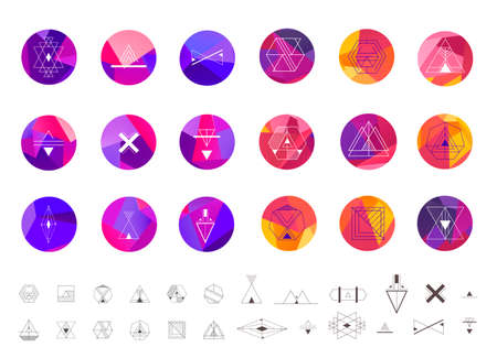 Vector set of abstract sacred geometry symbol vector elements template, logos on facet circle background. Hipster tribal line 向量圖像