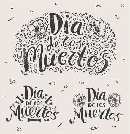 Vector Day of the dead, Dia de los moertos hand drawn lettering banner with flowers, buenos. Fiesta, holiday poster, party flyer, greeting card, logo, illustration 向量圖像