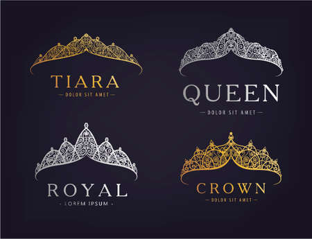 Vector set of abstract luxury, royal golden, silver company   icon vector design. Isolated on dark background, vintage style. 向量圖像
