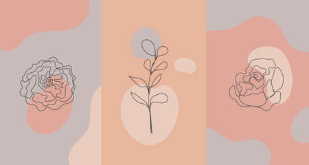 Vector minimalist style plants, rose. Line flower, nude colors. Hand drawn abstract print.