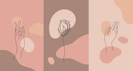 Vector minimalist style plants, hand. Line flower, nude colors. Hand drawn abstract print.