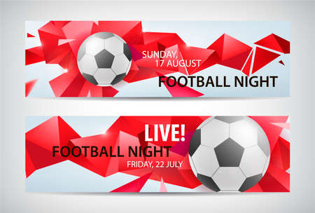 Set of vector sport football banners. Faceted colorful background with football bal