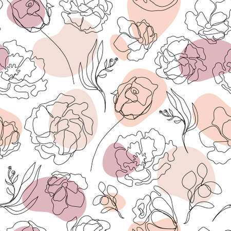 Vector seamless hand drawn pattern, single continuous line flowers with pastel color spots. Art floral elements. Use for beauty design elements, nature backgrounds, textile, package