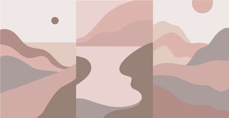 Vector set of mountain abstract landscape templates for social media stories, wall pictures minimalist nature scenery. Nude pastel colors, vertical backgrounds, banners Illustration