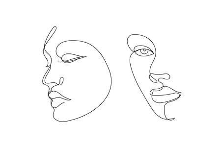 Vector hand drawn linear art, women faces, continuous line, fashion concept, feminine beauty minimalist. Print, illustration for t-shirt, design, logo for cosmetics Illustration