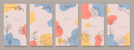 Vector set of nature social media stories, plants. Elegant continuous line drawing. Minimal Set of abstract creative artistic templates. Use for social media posts, mobile apps Illustration