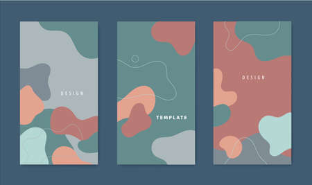Vector set of of abstract wavy social net stories templates, minimal cover design collection. Organic shapes, military, camouflage style background. social media and mobile wallpaper. Illustration