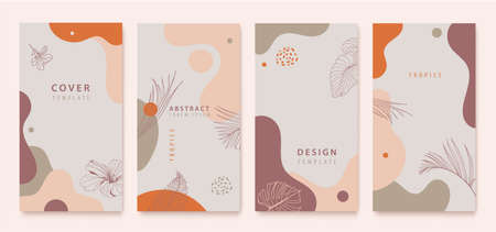 Vector set of nature social media stories, plants. Tropical, palm leaves. Minimal Set of abstract creative artistic templates. Use for social media posts, mobile apps