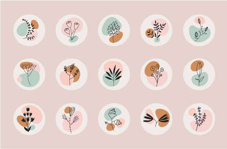 Vector set of abstract floral compositions. Boho, nature story templates - social net higlights, logos. Fluid organic shapes, neutral colors. Bohemian leaf prints