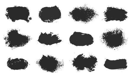Vector hand drawn ink design elements. Sponge stamps, dry brush marks. Set of grunge black artistic brushstroke design elements isolated