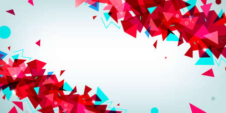 Vector abstract multicolor wireframe background with plexus effect. Futuristic red 3d geometric illustration. Website facet header, banner design. Triangular modern style. Global network connection Illustration