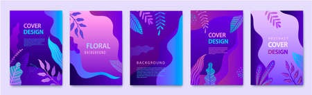 Vector Set of nature covers, cards, brochure, annual report design templates for beauty, spa, wellness, natural products, cosmetics, fashion, healthcare. Purple plants, waves