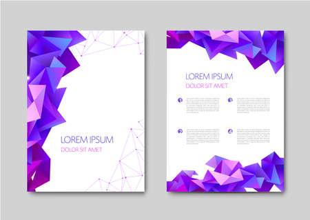 Vector set of abstract gradient geometric cover designs, trendy brochure templates, colorful futuristic posters. Purple geometric illustration, facet trianguar plexus style Illustration