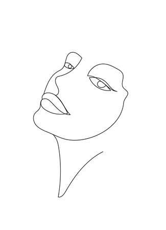 Vector hand drawn linear art, woman face, continuous line, fashion concept, feminine beauty minimalist. Print, illustration for t-shirt, design, logo for cosmetics, etc
