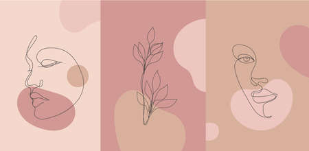 Vector minimalist style portrait. Line flower, woman portrait. Hand drawn abstract feminine print. Use for social net stories, beauty logos, poster illustration, card, t-shirt