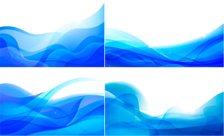 Vector set of wavy abstract geometric backgrounds, blue flow hoizontal banners. Trendy gradient shapes compositions. Flow blue