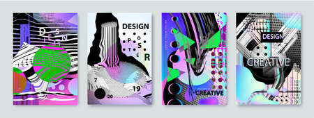 Set of vector abstract background cover designs. Screen error effect, Failure style covers, banners, flyers, posters. Abstract background strokes Banque d'images