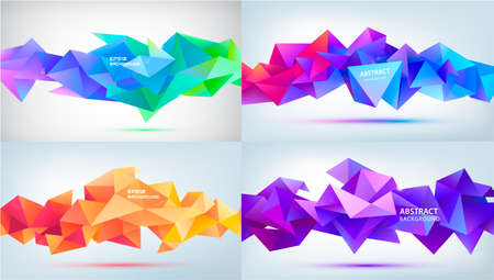 Vector set abstract geometric 3d facet shapes isolated. Use for banners, web, brochure, ad, poster, etc. Low poly modern style background. Purple, blue, orange Vector Illustratie