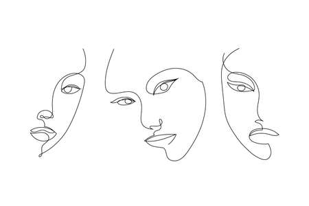 Vector set of hand drawn linear art, woman faces, continuous line, fashion concept, feminine beauty minimalist. Print, illustration for t-shirt, design for cosmetics, etc. Art poster