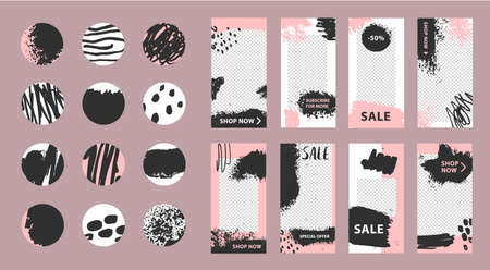 Vector set of social net stories, posts, hilghlights. Trendy collection template for social networks stories and posts, illustration. Design backgrounds for social media. dry brush ink, art