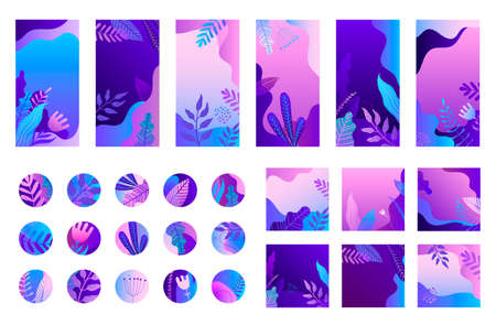 Vector set of social net stories, posts, hilghlights. Trendy collection templates for social networks stories and posts, vector illustration. Design backgrounds for social media. Nature, leaves